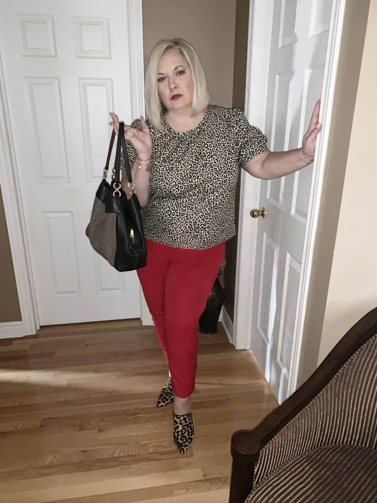 Leopard print blouse with red pixie pants - Sly's The Limit