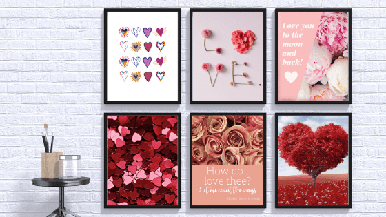 Valentine's Day photos to decorate wall